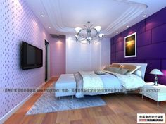 Contemporary Bedroom Decorating Ideas - Image 01 : Gorgeous Student Bedroom with Lilac Walls