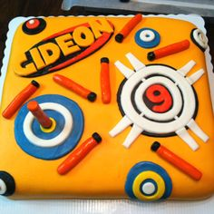 Nerf birthday cake for a nine year old boy.