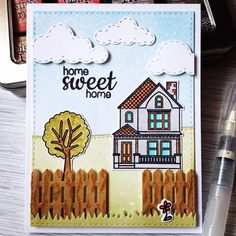 card house fence home tree grass border Sunny Studio: Sunny Saturday Share: Customer Cards & Tags for Spring