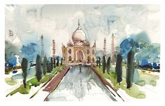 Announcing: Travel Sketching Workshop in India! Watercolor Landscape Paintings, Watercolor Sketch, Painting Inspiration, Art Inspo, Journal Themes, Urban Sketching, Art Sketchbook, Sketchers, My Drawings