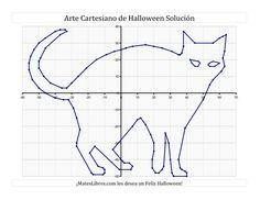 La Arte Cartesiano de Halloween -- Gato Hoja de Ejercicio de Halloween