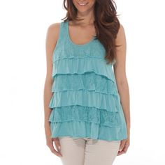 Racerback Lace Tiered Ruffle Tank. Love the color