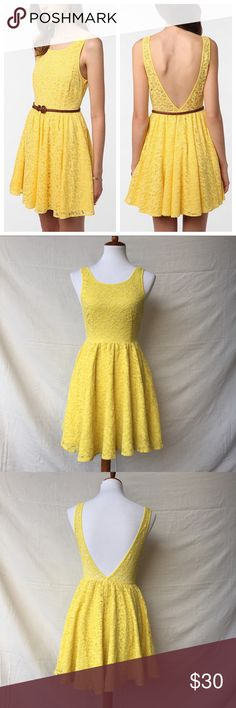 UO Pins & Needles Backless Lace Dress Urban Outfitters - Pins & Needles Backless Lace Dress in beautiful lemon yellow color. Fit and flare cut. Flirty and feminine, but not too short. Size 0, fabric is rather stretchy, so it could probably work for a 0-2. Gently pre-loved. Great condition. No holes, stains, piling or other flaws.  Check out my closet for more great items! Urban Outfitters Dresses