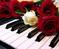 Piano with roses