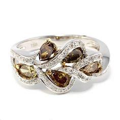 Chocolate Diamond Swirl Ring