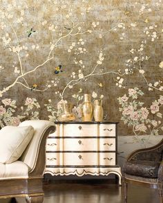 WORTHMORE : - Traditional wallpaper / floral / chinoiserie / handmade by Paul Montgomery Studio Oriental Wallpaper, Chinoiserie Wallpaper, Chinoiserie Chic, Custom Wallpaper, Wall Wallpaper, Bird Wallpaper Bedroom, Interiores Shabby Chic, Deco Nature, Traditional Wallpaper