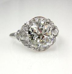 So gorgeous and unique! 1915s... 3.32ct Antique Vintage Old Mine Cusion Cut Diamond EGL USA Engagement Wedding Anniversary Ring in Platinum: