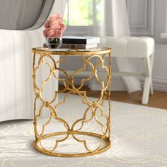 I would spray paint the table a bright color. Willa Arlo Interiors Keiko End Table Diy End Tables, Metal End Tables, Glass End Tables, End Table Sets, End Tables With Storage, A Table, Side Tables, Muebles Home, Living Room Accessories