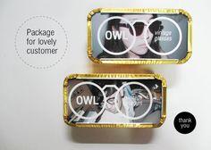 owl vintage sun glasses  photo / logo / package