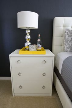 Gray base color with hints of yellow    eclectic bedroom by Michelle Hinckley