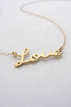 Gold love necklace  love script necklace in gold by OliveYewJewels, $36.00