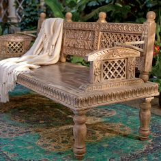 Mango Wood Bench from Craft by World Market inspired by The Second Best Exotic Marigold Hotel Indian Furniture, Home Furniture, Furniture Design, Outdoor Furniture, Mango Wood Furniture, India Decor, Home Interior, Interior Design, Moroccan Interiors
