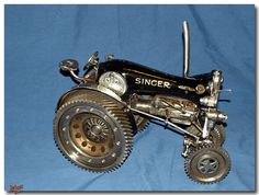 tractor made out of sewing machine | SilverfoxMetalWorks BBQ