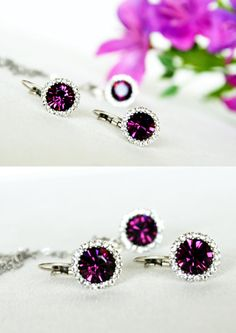 purple jewelry set art deco clear crystal swarovski by sestras