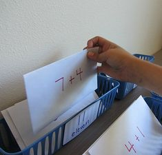 """Partitioning and Combining Numbers in the Range 1 to Make a tray for each of the numbers you want the child to practise the partitions of. Write each of the partition sums on a card or envelope and ask the child to """"sort the post"""" into the correct trays. Math Activities For Kids, Math Games, Kids Learning, Maths Sums, Year 1 Maths, Mastering Math, Daily 5 Math, Math Groups, Math Intervention"""