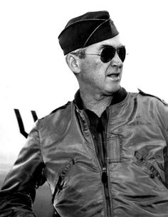 Brigadier General James Stewart pausing at Hickam Air Force Base in Honolulu to refuel his plane while flying to Vietnam. 1966.