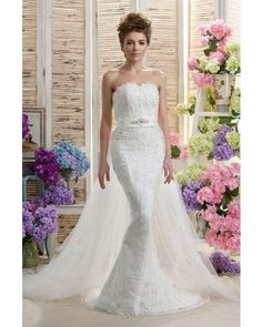 Sheath Strapless Tulle Applique Vintage Wedding Dress with Satin Sash | LynnBridal.com