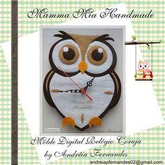 Molde Digital Relógio Coruja em Feltro | Mamma Mia Handmade | 2D9EAE - Elo7 by Divonsir Borges