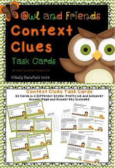 These 32 context clues task cards are perfect for helping your students with comprehension as well as improving their vocabularies.  Great for centers, group work, as well as partners. These cards are perfect to use with the whole class for the game scoot. $