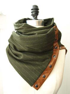 Dark olive green Chunky wool circular infinity scarf. $75.00, via Etsy.