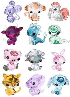 Check out these super cute crystal figurines designed by Junko Mizuno for Swarovski. These figurines are Mizuno's kawaii version of the Chinese Zodiac animals, complete with accents on each p… Cute Animal Drawings, Kawaii Drawings, Cute Drawings, Anime Zodiac, Zodiac Art, Swarovski Crystal Figurines, Swarovski Crystals, Glass Animals, Cute Art