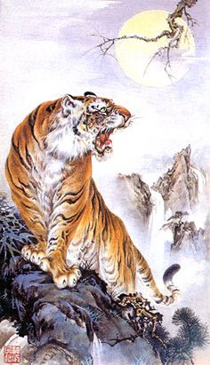 A favorite Chinese Painting of a Tiger Tiger Sketch, Tiger Drawing, Tiger Painting, Chinese Tiger, Chinese Art, Chinese Dragon, Big Cats Art, Cat Art, Japanese Prints