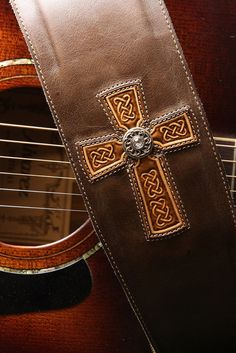 Guitar Strap  brown leather guitar strap with by EthosCustomBrands, $225.00