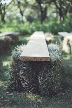Great seating idea for outdoors!!  During the wedding!