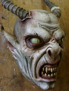 Scary Mask, Creepy Clown, Krampus Mask, Fantasy Demon, Scary Faces, Sfx Makeup, Occult, Wood Carving, Dark Art