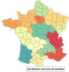 Cette visualisation permet d'imaginer le nouveau visage de la France si le découpage avait été confié à un algorithme. La proximité géographique et les mobilités professionnelles interdépartementales quotidiennes sont prises en compte.  http://labs.data-publica.com/regionator3000/