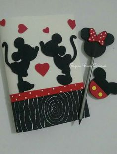 Diy Notebook, Decorate Notebook, Foam Crafts, Diy And Crafts, Craft Activities For Kids, Crafts For Kids, Cool Notebooks, Boyfriend Anniversary Gifts, Mickey Minnie Mouse