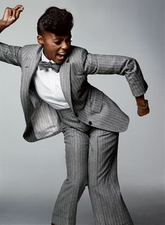 Must Try: PANTSUITS! pinstripe grey menswear suiting looks incredible on a woman!