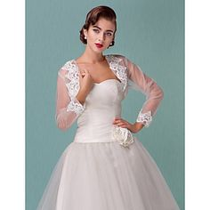 Wedding Wraps Long Sleeve Tulle Wedding/Special Occasion Wraps – USD $ 34.99
