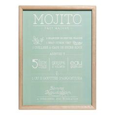 Paulowniahouten wanddecoratie met print 30x40cm MOJITO