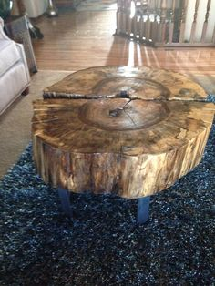 Hackberry Log Coffee Table. Half and Half with Metal Legs.