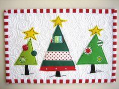 Three Merry Christmas Trees Mug Rug