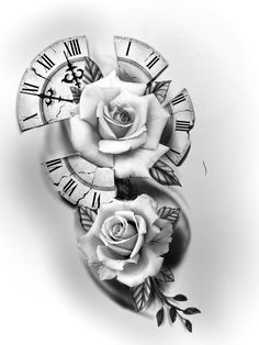 Rose Tattoos For Men, Up Tattoos, Tattoos For Guys, Clock Tattoo Design, Tattoo Designs, Rosa Tattoo, Tatto Old, Jesus Tattoo, Phone Screen Wallpaper
