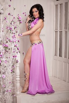 Lilac professional belly dance costume with lilac stones on bra and belt