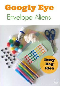 Are you sick of relying on a screen to entertain your kids when you are out and about? Then why not take along our Googly Eye Envelope Aliens Busy Bag. Perfect for pre-schoolers and adaptable for kids of all ages. Preschool Arts And Crafts, Easy Crafts For Kids, Preschool Learning, Projects For Kids, Preschool Activities, Fun Crafts, Art For Kids, Creative Activities, Teaching