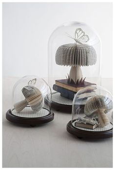 Decor: Book sculptures and Cloches