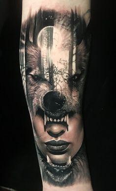 Beautiful Surrealist Double-Exposure Tattoos Mash Up People, Architecture & Natu … – skull tattoo sleeve Wolf Tattoo Forearm, Wolf Tattoo Sleeve, Tattoo Sleeve Designs, Tattoo Wolf, Arm Tattoo, Sweet Tattoos, Cute Tattoos, Body Art Tattoos, Tattoos For Guys