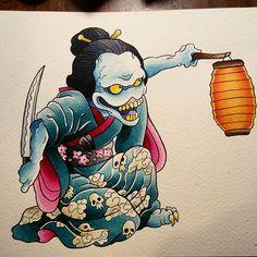 Japanese Demon. Japan Illustration, Japanese Prints, Japanese Art, Japanese Dragon, Japanese Demon Tattoo, Hanya Tattoo, Japanese Monster, Japan Painting, Art Asiatique