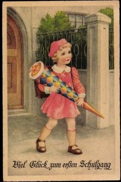 Ak Glückwunsch Einschulung, Kleines Mädchen mit Zuckertüte - 743630 in Sammeln & Seltenes, Ansichtskarten, Motive | eBay