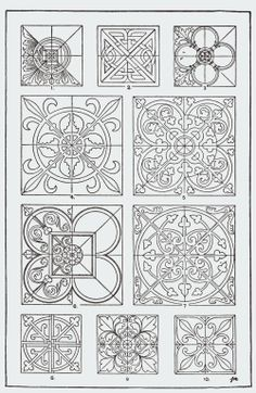 "⊰❁⊱ Mandala ⊰❁⊱ From, ""A Handbook of Ornament"". 1898 by Franz Sales Meyer. Stencil Patterns, Zentangle Patterns, Tile Patterns, Pattern Art, Embroidery Patterns, Pattern Design, Pattern Ideas, Celtic, Stencils"