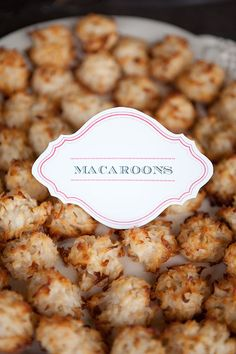 Coconut Macaroons on your wedding dessert table.  Delicious, heat resistant and adorable. Plus, we make different flavours! www.morseldesserts.ca