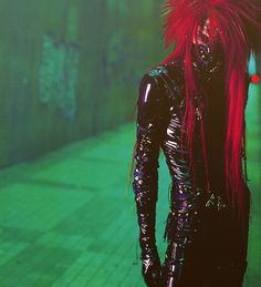 J-Rock, Futuristic Fashion Futuristic Style, Punk, punk hairstyle, Latex Clothing, Red Hair, Black Latex, Man in Black, hairstyle, Alternative Man, Japan street style, Man in Latex, Cyber Goth, Japan, cyberpunk, violet, purple clothing