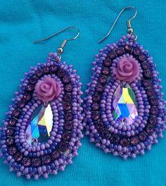 native american purple beaded earrings by Jackiesbeadsnthings