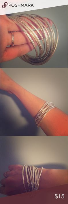 "Silver bangles!!! ✨ Attached silver bangles great for larger wrists! Have been in storage and are too big for my wrist I'm about 6"". ✨ Jewelry Bracelets"