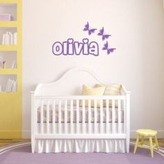 Name with butterflies personalised wall sticker - wall art - wall decal