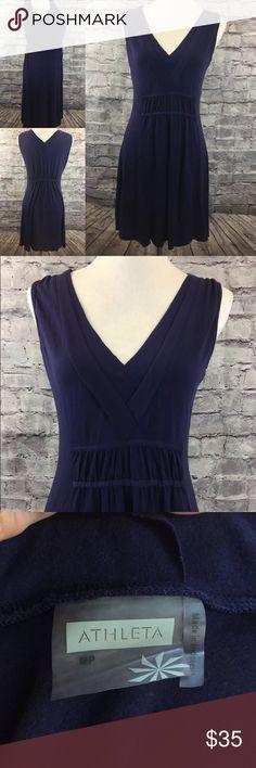 316c7fb1fd124 Athleta Quick Dry Sz PM Blue Knit Sleeveless Dress ATHLETA WOMENS SZ PM  NECTAR BLUE DRESS